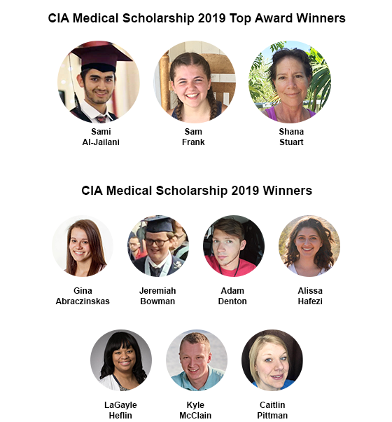 CIA Medical healthcare scholarship 2019 winners